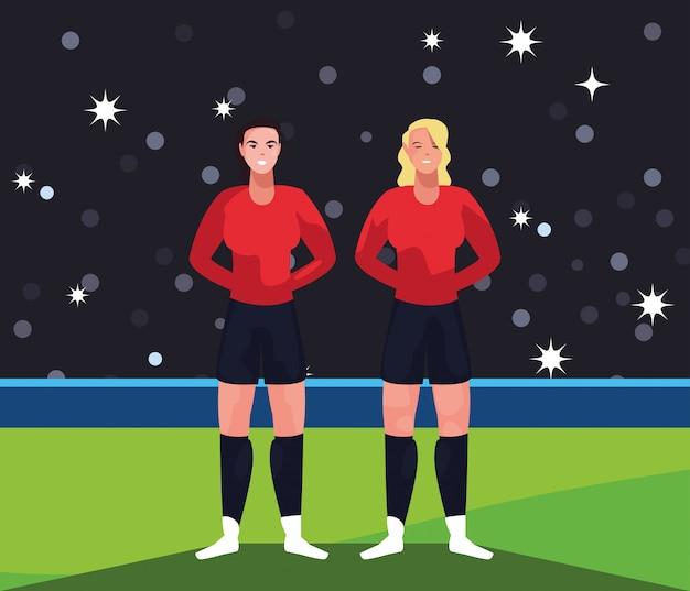 Fußballspielerfrauen im stadion