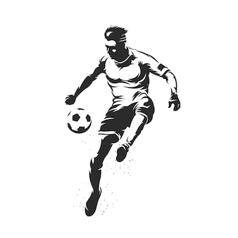 Fußballspielersilhouette mit ballillustration