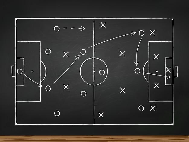 Fußballspieltaktikstrategie gezeichnet auf kreidebrett