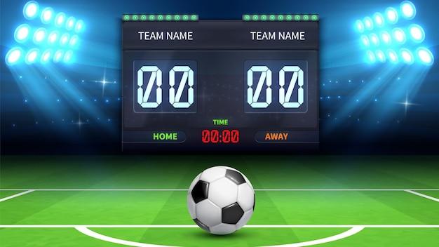 Fußballstadion hintergrund. realistischer fußball im grünen feld. stadion elektronische sport anzeigetafel fußballzeit und fußballspiel ergebnis anzeige vektor-illustration. stadionfußball, matchfußball