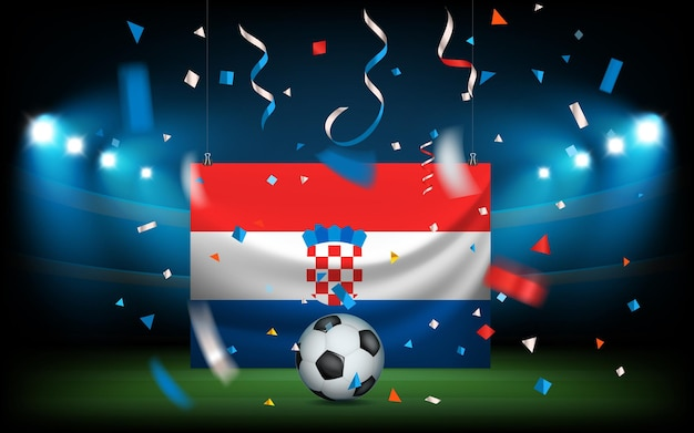 Fußballstadion mit dem ball und der kroatischen flagge. viva kroatien