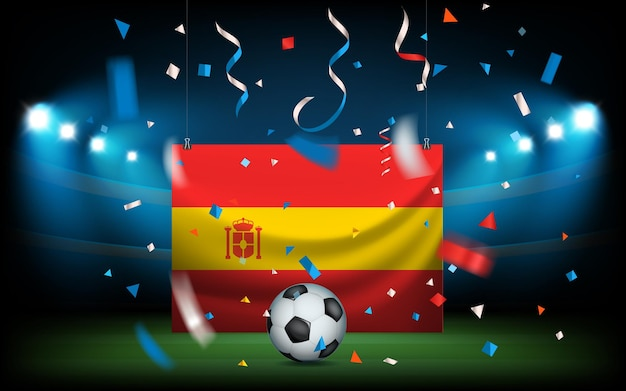 Fußballstadion mit dem ball und der spanischen flagge. viva spanien