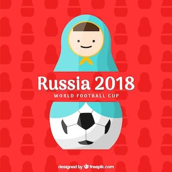 Fußballtasseentwurf 2018 mit Matroschka