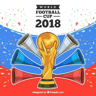 Fußballtassenentwurf 2018 mit trophäe