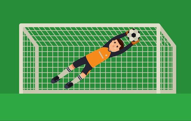 Fußballtorhüter, der einen ball fängt