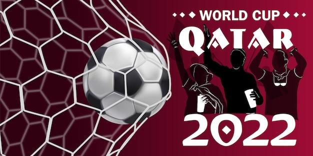 Fußballturnier, fußballpokal, hintergrund-design-vorlage, vektor-illustration, 2022. fußball im tor, vektor auf rotem, modernem hintergrund