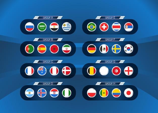 Fußballturnier schema. fußball-infografik-vorlage mit flaggen