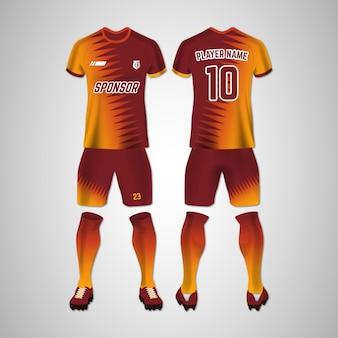 Fußballuniform vorne und hinten eingestellt