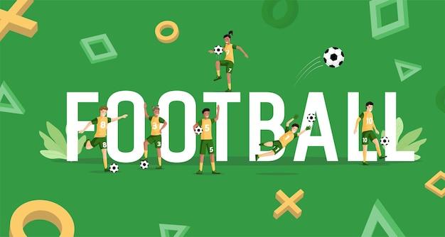 Fußballwort mit glücklich lächelnden spielern und bällen