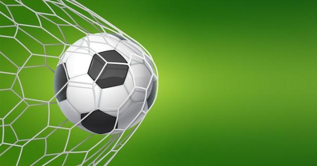 Fußballziel hintergrund. fußballbanner mit ball im netz und platz für text, sportspiel und fußballmeisterschaftsschnitt. vektorillustrationskonzept des ziels in grün
