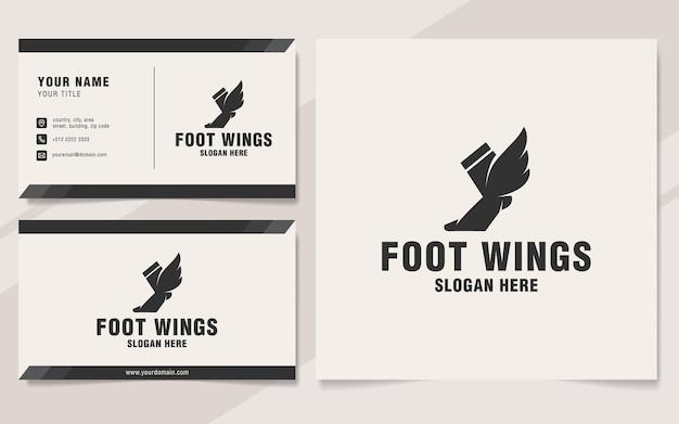 Fußflügel-logo-vorlage im monogramm-stil