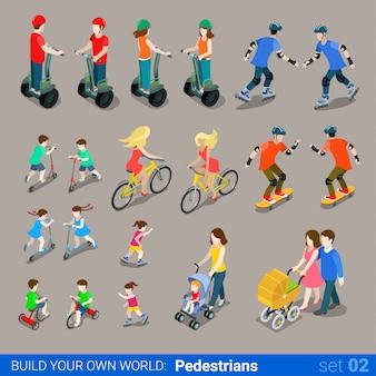 Fußgänger auf radtransport setzen segway fahrrad kinderwagen skateboard roller rollen.
