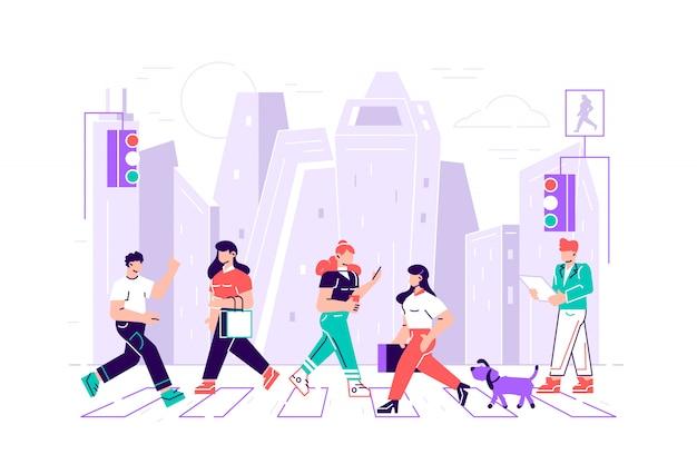 Fußgänger menschen, die auf stadtstraße gehen. männer und frauen charaktere beeilen sich bei der arbeit auf städtischen hintergrund mit ampeln und zebrastreifen bewegung durch straße, lebensstil, cartoon flat illustration