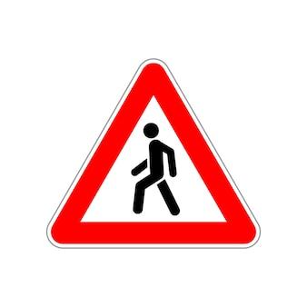 Fußgängersymbol auf dem roten und weißen straßenschild des dreiecks auf weiß