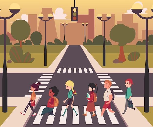 Fußgängerüberweg der städtischen stadtstraße