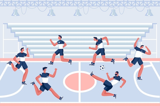 Futsalfeld mit spielern