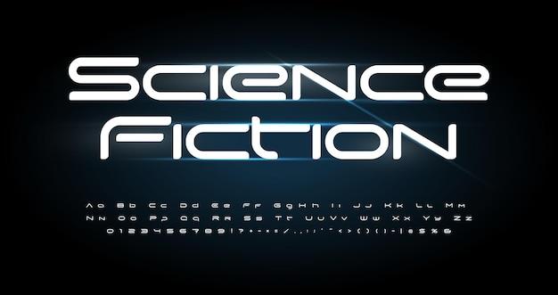 Futurismus alphabet. moderne breite schrift, technologietyp für modernes futuristisches logo, schlagzeile für medizinische innovationen, wissenschaftliche beschriftung und typografie. typografisches design mit minimalen stilbuchstaben.
