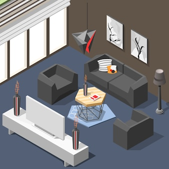Futuristic lounge interior isometric