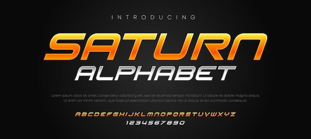 Futuristic typography italic alphabet fonts set