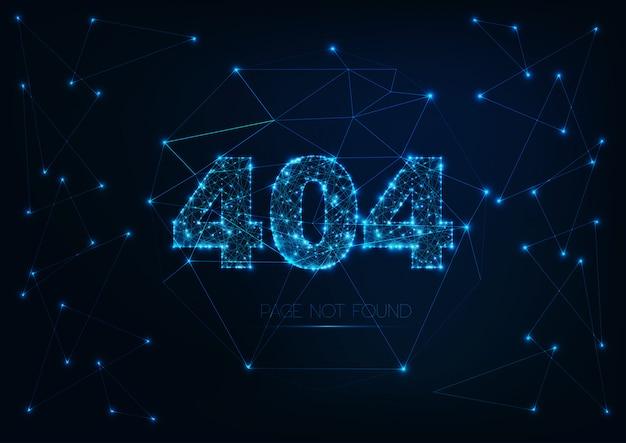 Futuristisch glühende, niedrige polygon-fehlermeldung 404-seite nicht gefunden