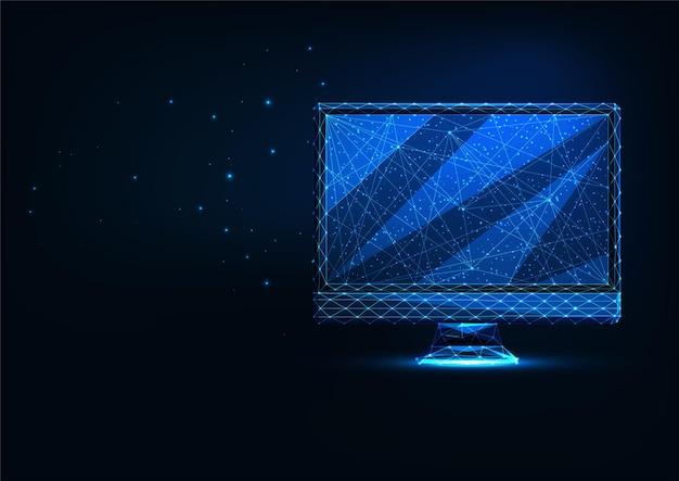 Futuristisch leuchtendes, niedriges polygonales computerdisplay isoliert auf dunkelblau dark