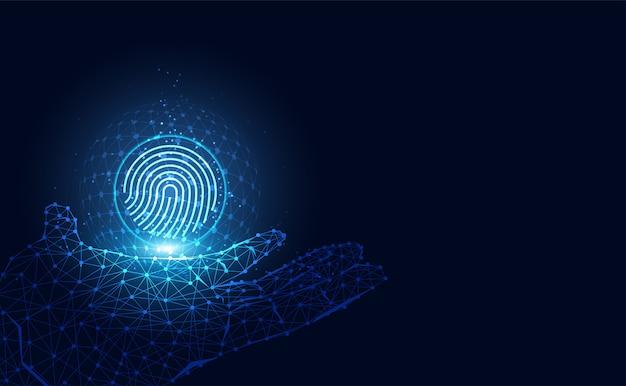 Futuristisch mit fingerabdrücken und digitalem drahtgitter