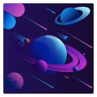 Futuristische abstrakte planetensammlung in vibrierenden farben