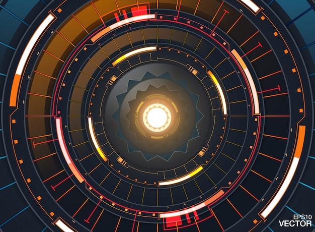 Futuristische abstrakte schablone mit innovativen virtuellen benutzerschnittstellen auf dunklem hintergrund