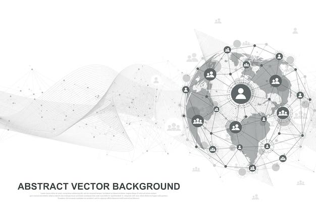 Futuristische abstrakte vektor-hintergrund-blockchain-technologie. peer-to-peer-netzwerk-geschäftskonzept. globales kryptowährungs-blockchain-vektorbanner. wellenströmung