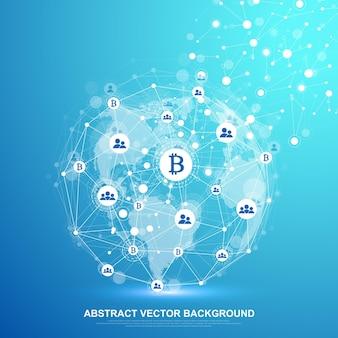 Futuristische abstrakte vektor-hintergrund-blockchain-technologie. tiefer webhintergrund. peer-to-peer-netzwerk-geschäftskonzept. globales kryptowährungs-blockchain-vektorbanner. wellenströmung