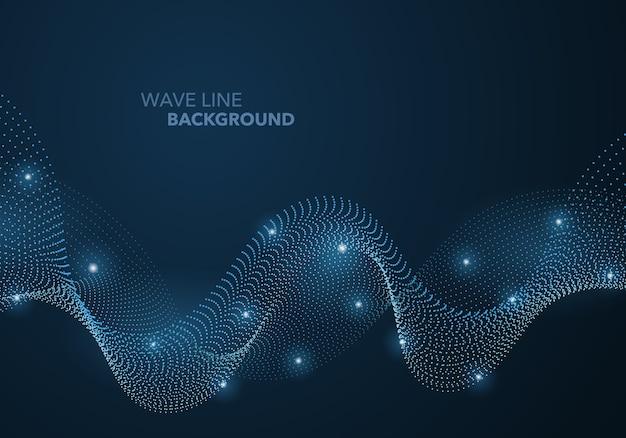 Futuristische abstrakte wellenpunktgradientenlinie und beleuchteter lichtkugelschablonenhintergrund.