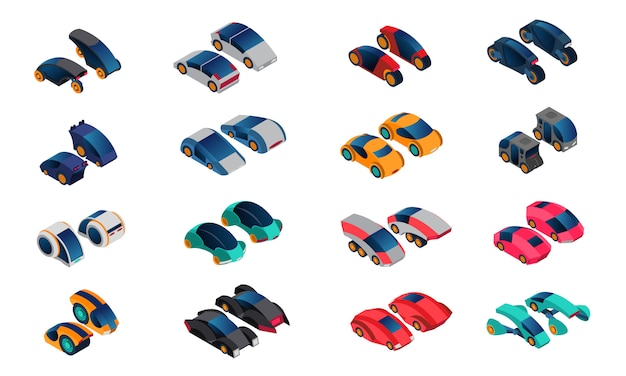 Futuristische autos isometrische icons set
