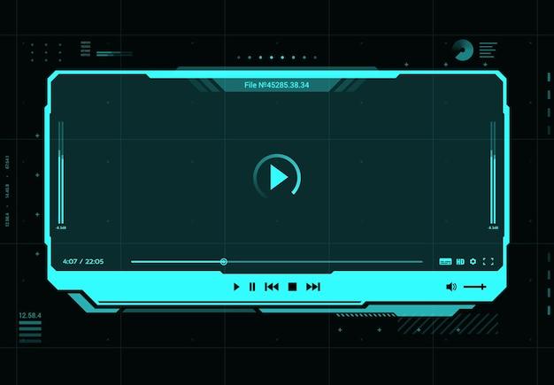 Futuristische benutzeroberfläche des hud-video- und soundplayer-bildschirms