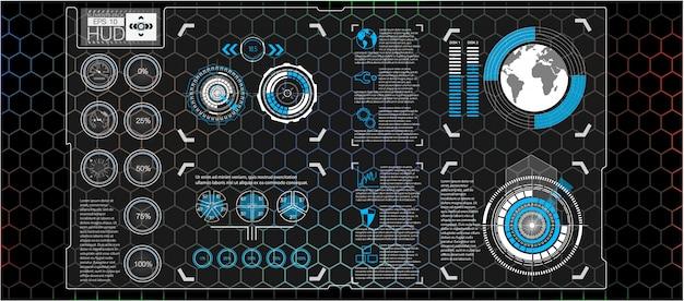 Futuristische benutzeroberfläche. hud-benutzeroberfläche. abstrakte virtuelle grafische berührungsbenutzeroberfläche. autos infografik. wissenschaft abstrakt. illustration.