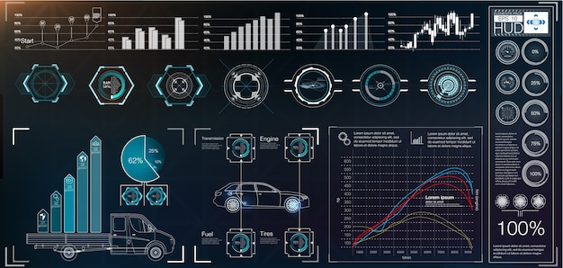 Futuristische benutzeroberfläche. hud ui. abstrakte touch-benutzeroberfläche. autos infografik. wissenschaft abstrakt. illustration.