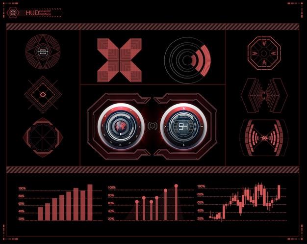 Futuristische benutzeroberfläche. hud ui. abstrakte virtuelle grafische berührungsbenutzeroberfläche. wissenschaft abstrakt. illustration.