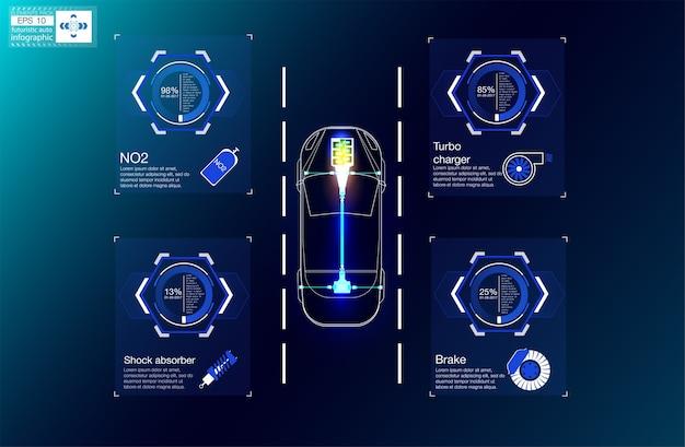 Futuristische benutzeroberfläche. hud ui. abstrakte virtuelle grafische berührungsbenutzeroberfläche.