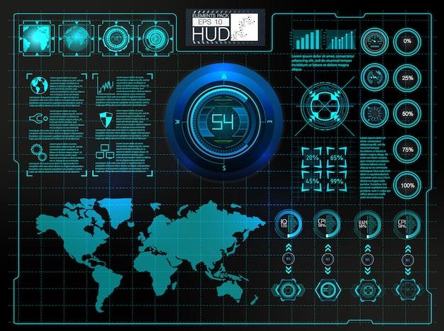 Futuristische benutzerschnittstelle. weltraum des hud-hintergrundes. infographik elemente.