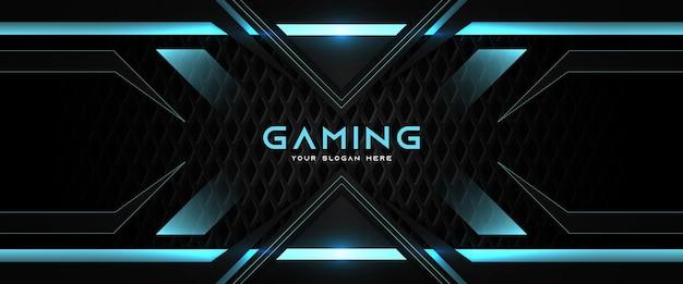 Futuristische blau-schwarz-gaming-header-social-media-banner-vorlage