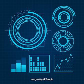 Futuristische blaue infographic elementsammlung