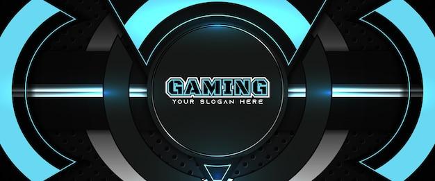 Futuristische blaue und schwarze gaming-header-social-media-banner-vorlage