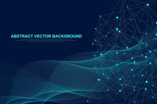 Futuristische blockchain-technologie mit abstraktem hintergrund. peer-to-peer-netzwerk-geschäftskonzept. globale kryptowährungs-blockchain. fließende linien, wellen, punkte.