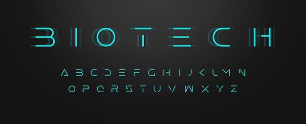 Futuristische buchstaben ultra schlanke schrift zeitgenössische schrift