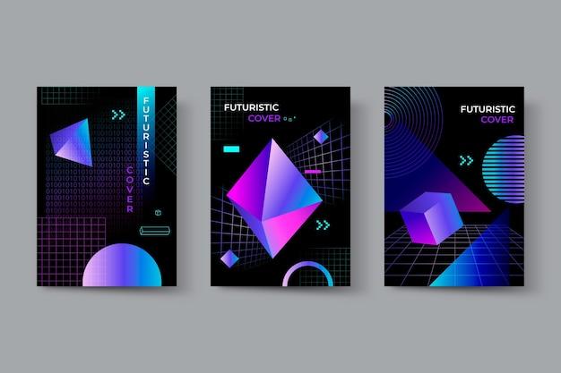 Futuristische cover-kollektion mit farbverlauf