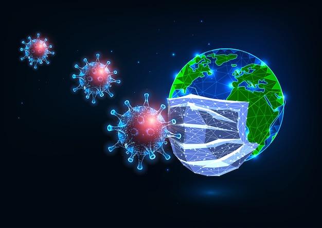 Futuristische covid-19-coronavirus-weltpandemie. medizinische maske schützt den planeten vor viren