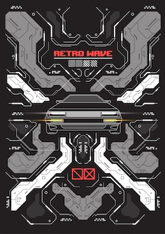 Futuristische cyberpunkfahne mit abstraktem retro- auto.