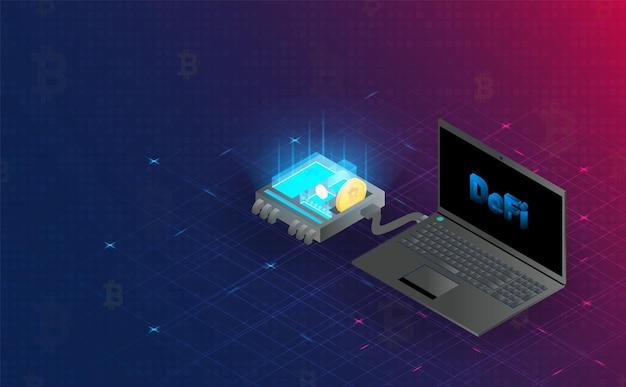 Futuristische defi-blockchain-hologramm-verbindung. future concept.vector und illustration
