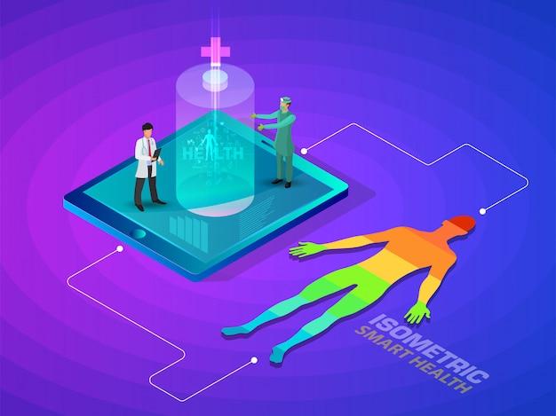 Futuristische designillustration der isometrischen intelligenten gesundheit und des medizinischen konzeptes 3d - verfolgen sie ihren gesundheitszustand durch gerätenetzwerksteuerung.