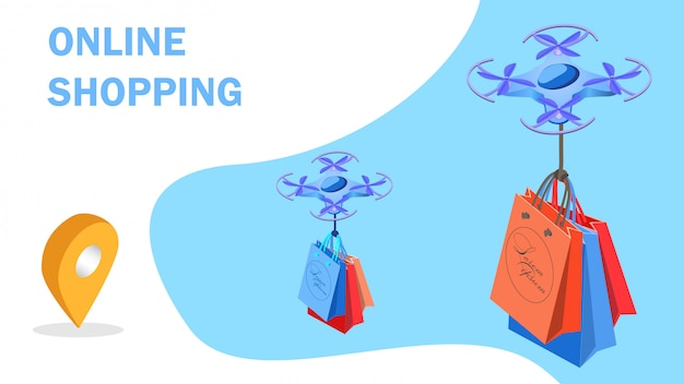 Futuristische einkaufs-isometrische banner-vorlage