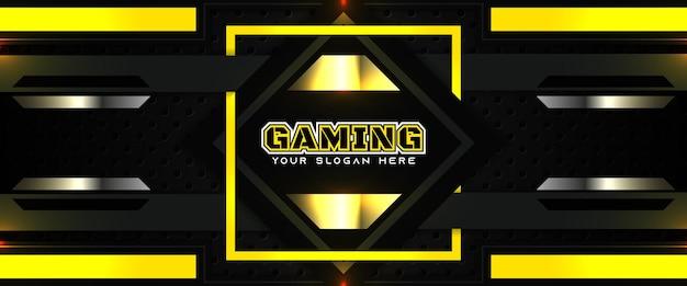 Futuristische gelbe und schwarze gaming-header-social-media-banner-vorlage